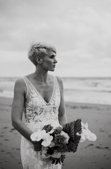 Black and White Portrait of Bride with Short Hair in Made With Love Wedding Dress