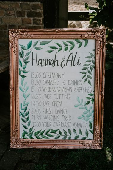 Order of The Day Wedding Sign in Gold Ornate Frame