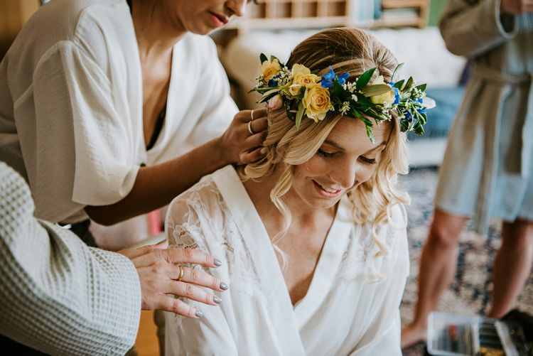 Wedding Morning with Bride in Getting Ready Robe and Flower Crown