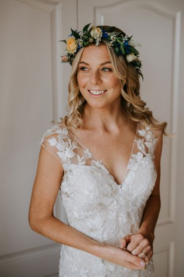 Beautiful Bride in Lace Watters Wedding Dress, Curly Hair and Flower Crown