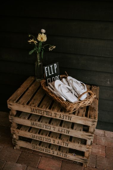 Wicker Basket Full of Flip Flops for Dancing Feet