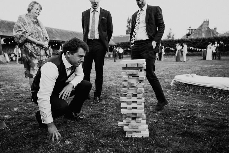 Wedding Guests Enjoying Giant Jenga Garden Game