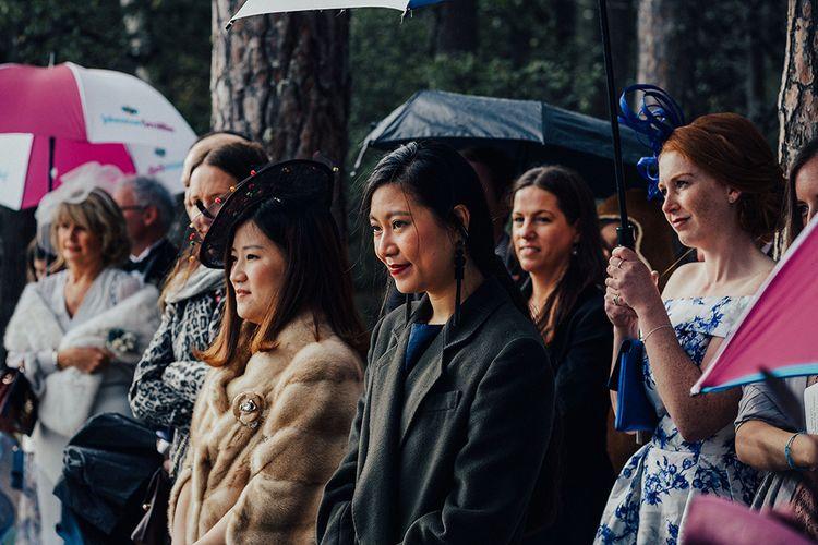 Wedding Guests at Outdoor Wedding Ceremony at Loch Garten in Scotland
