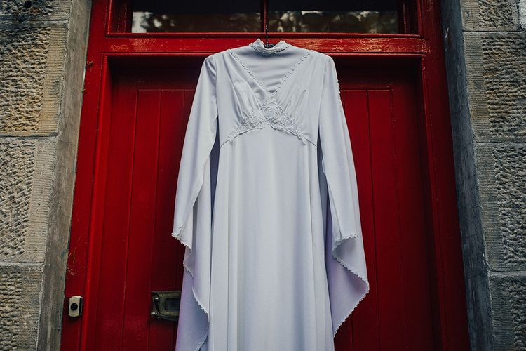 Vintage Wedding Dress with High Neck and Long Bell Sleeves