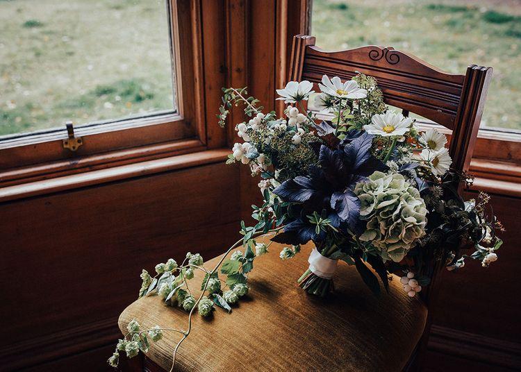 Hand Tied Wedding Bouquet with Hydrangeas by Myrtle and Bracken