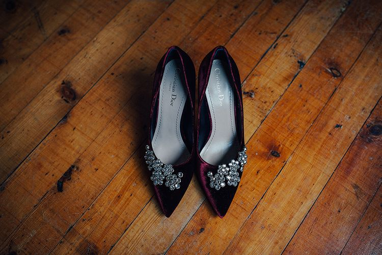 Burgundy Velvet Dior Court Shoes with Diamante Brooch Detail