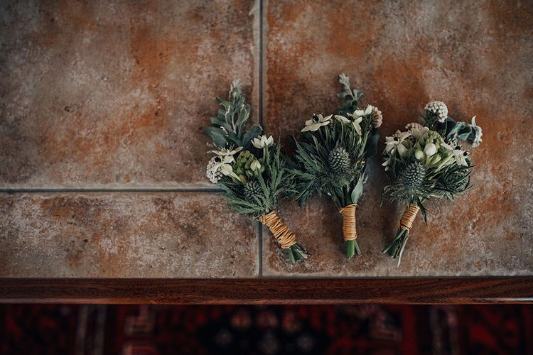 Buttonholes Wrapped in Twine