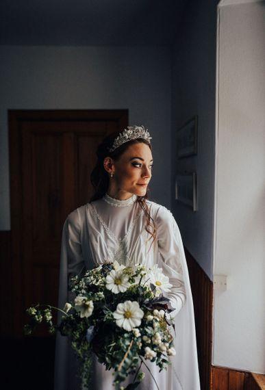 Boho Bride in Vintage Wedding Dress with High Neck and Diamante Headdress