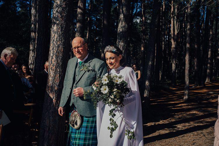 Outdoor Wedding Ceremony Bridal Entrance in a High Neck Vintage Wedding Dress