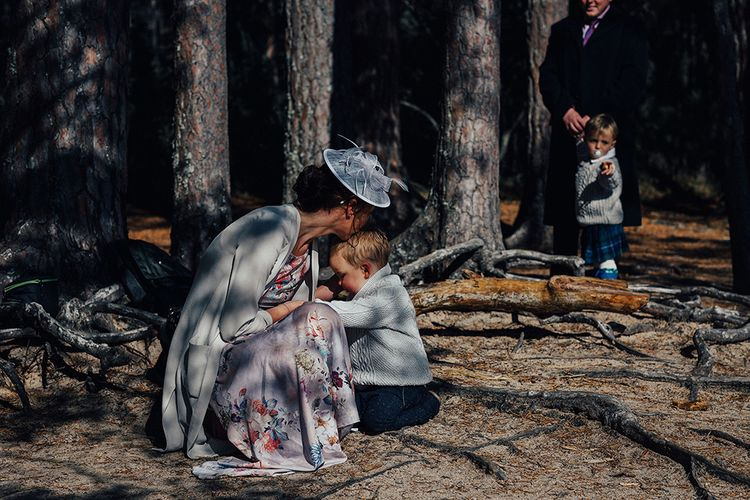 Little Wedding Guest Playing in the Woodland