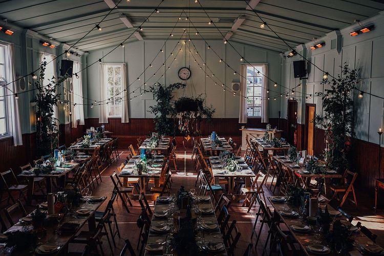 Village Hall Wedding Reception with DIY Decor, Festoon Lights and Trinkets