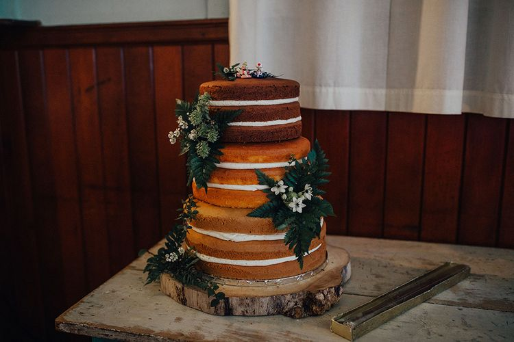 Different Sponge Naked Wedding Cakes with Floral Decor