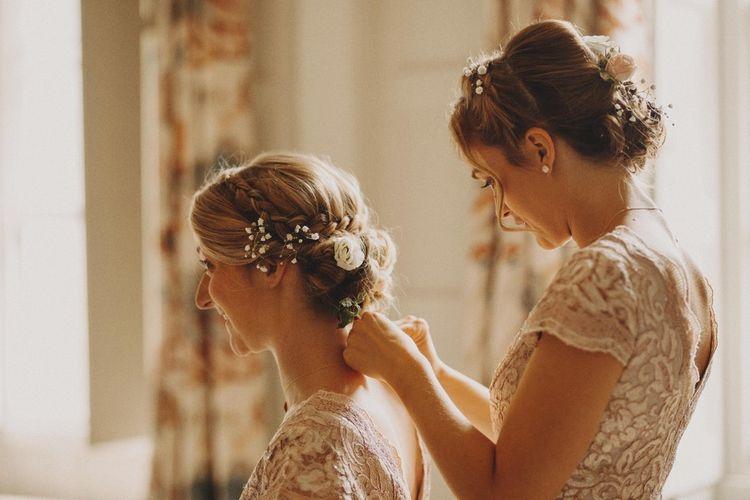 Bridal Beauty Hair Up Do For Bride Wearing Mermaid Wedding Dress