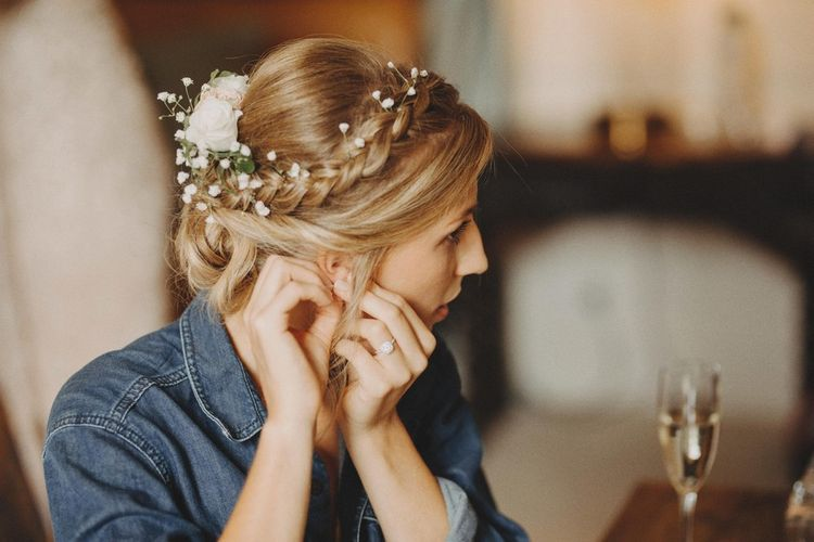 Bridal Up Do With Flowers