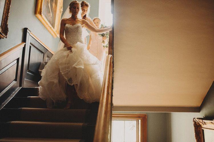 Bride Walks Downstairs to Ceremony In Mermaid Wedding Dress