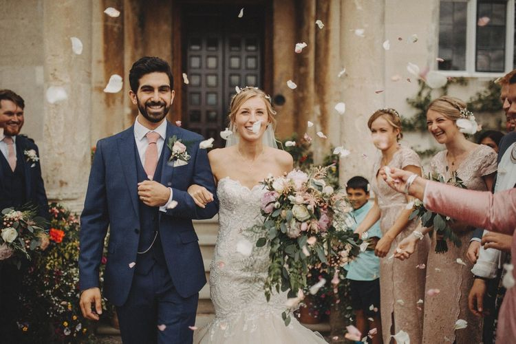Confetti Exit For Bride and Groom With Bride In Mermaid Wedding Dress