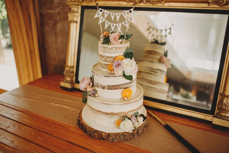 Tiered  Wedding Cake With Flower Detail