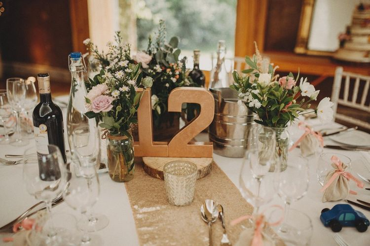 Gold Table Numbers On Wedding Table