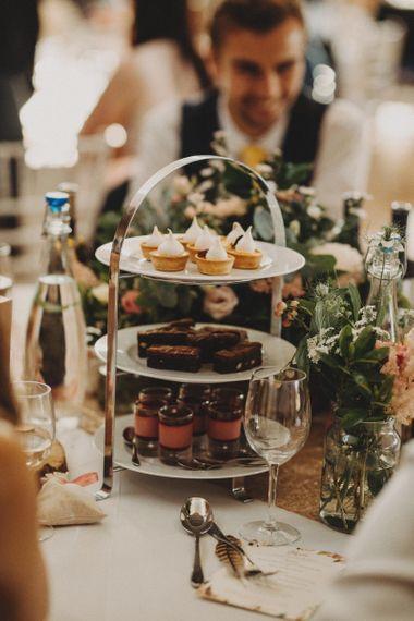 Wedding Dessert Stand At Rustic Wedding