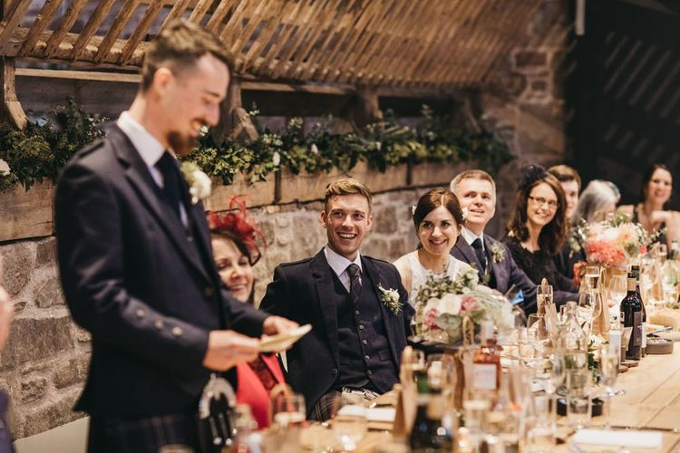 Wedding speeches at rustic wedding