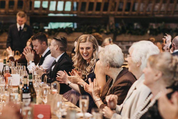 Guests enjoy wedding breakfast at Guardswell Farm