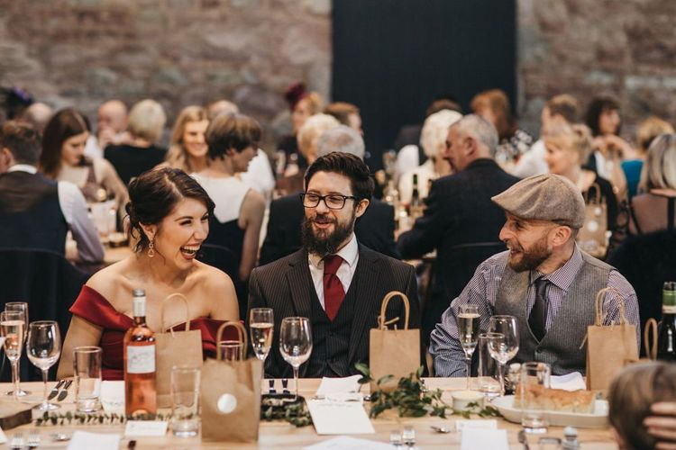 Guests during wedding breakfast at Guardswell Farm