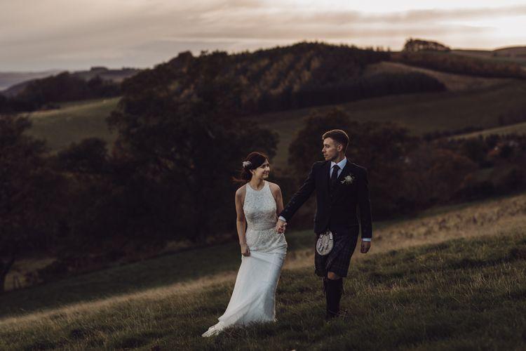 Bride wears Rosa Clara wedding dress for Autumn wedding