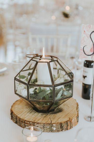 Log Slice Table Decor For Wedding // Blush Pink Wedding Dress For Outdoor Wedding Ceremony At Hethfelton House With Images From Dorset Wedding Photographer Paul Underhill
