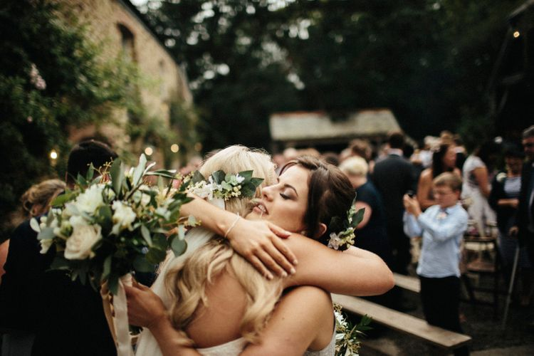 Bride With Foliage Demi Crown // Nancarrow Farm Cornwall Wedding With Hanging Foliage Decor & Pastel Bridesmaids Dresses With Images From Ben Selway Photography