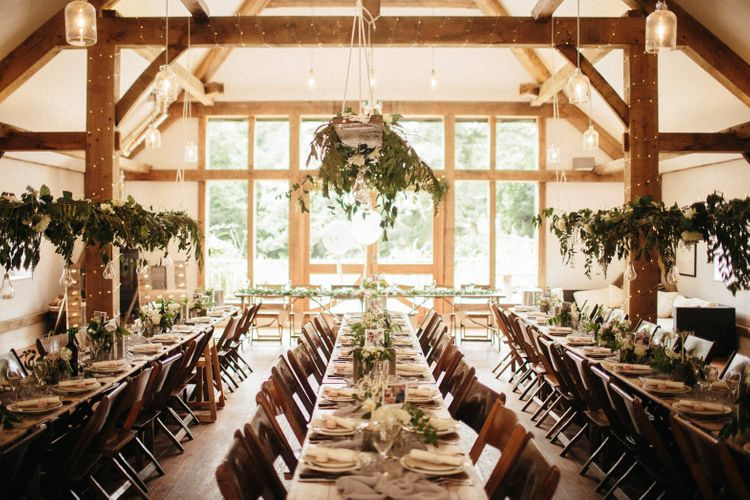 Hanging Foliage For Wedding Decor // Nancarrow Farm Cornwall Wedding With Hanging Foliage Decor & Pastel Bridesmaids Dresses With Images From Ben Selway Photography