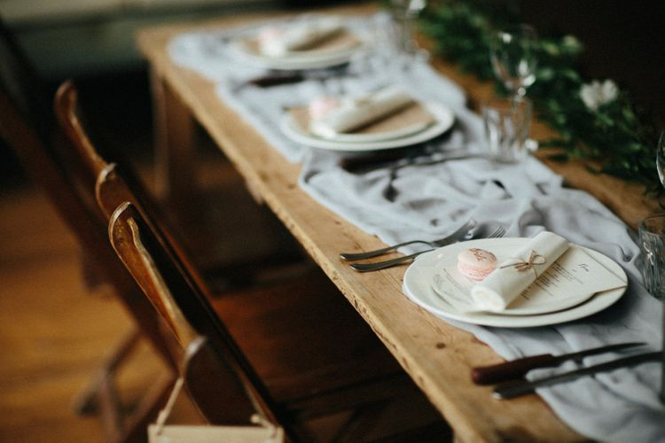 Rustic Place Setting // Nancarrow Farm Cornwall Wedding With Hanging Foliage Decor & Pastel Bridesmaids Dresses With Images From Ben Selway Photography