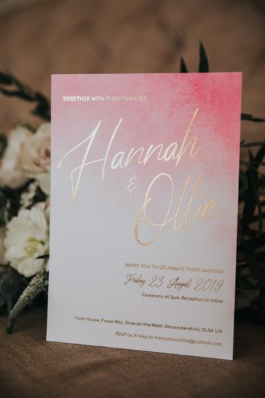 Ombre pink wedding signs