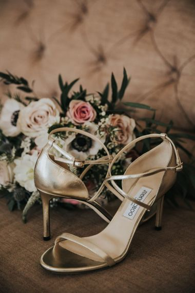 Gold wedding shoes for bride