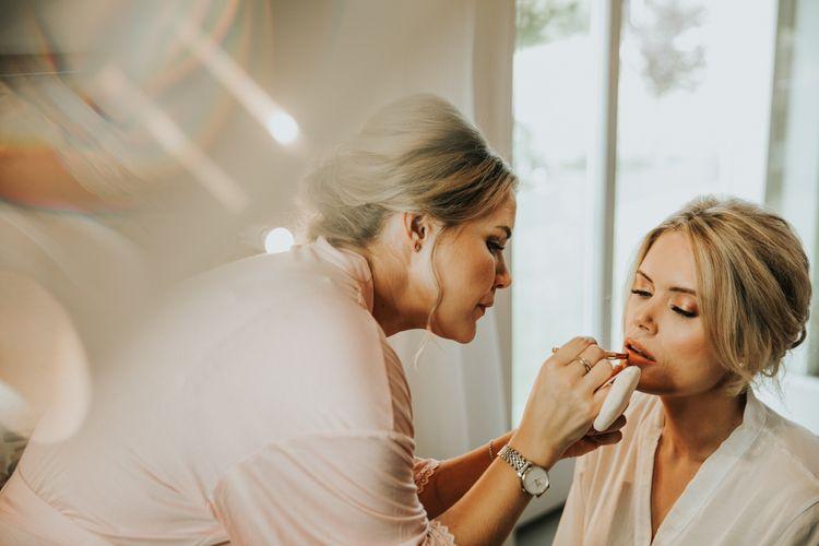 Bridal makeup at Hyde House wedding