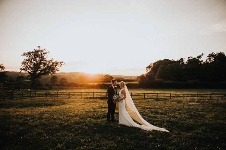 Beautiful sunset portraits at Hyde House wedding
