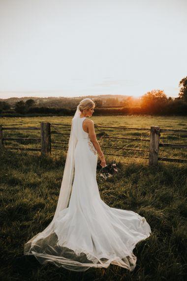Justin Alexander bride dress with veil at Hyde House wedding