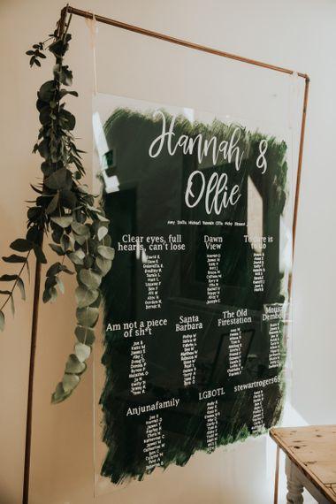 Hanging acrylic wedding sign