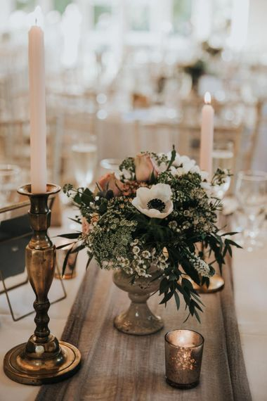 Wedding flowers and candle decor with Anemones