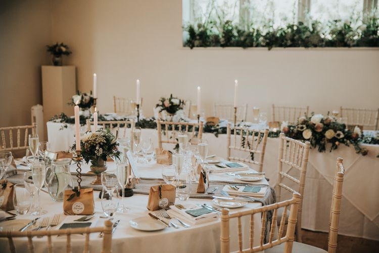 Wedding table set up at Hyde House wedding