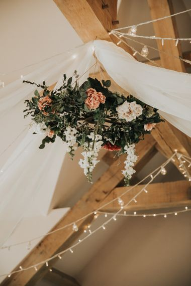 Hanging flower and foliage chandelier