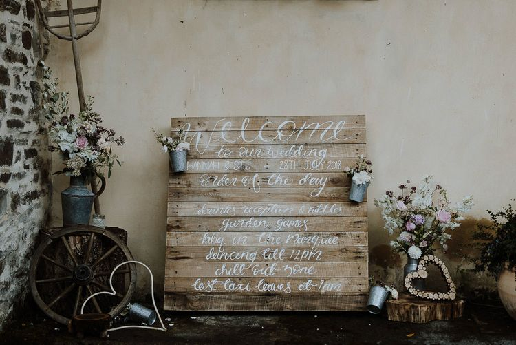 Wooden Pallet Welcome Sign and Order of The Day