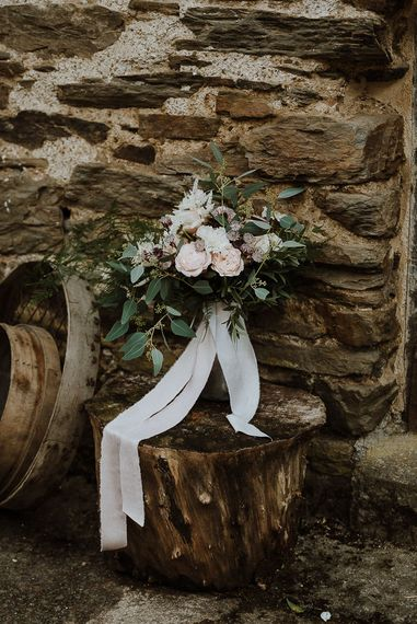Romantic Wedding Bouquet Tied with Ribbon