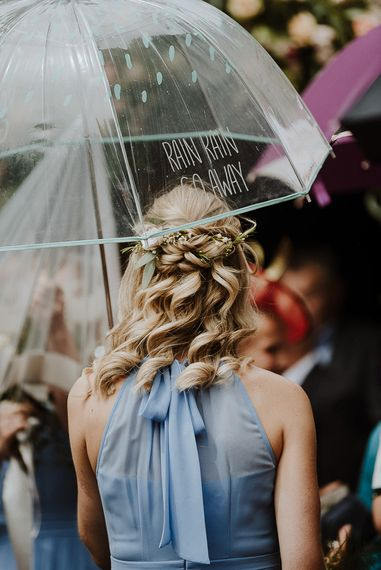 Bridesmaid in Blue Dress with Beautiful Half up Half Down Wavy Hairstyle