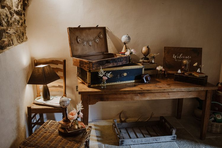 Vintage Suitcases and Wicker Baskets as Wedding Card Box