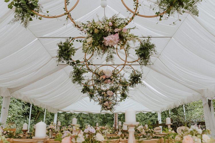 Hanging Flower Hoops Marquee Ceiling Wedding Decor