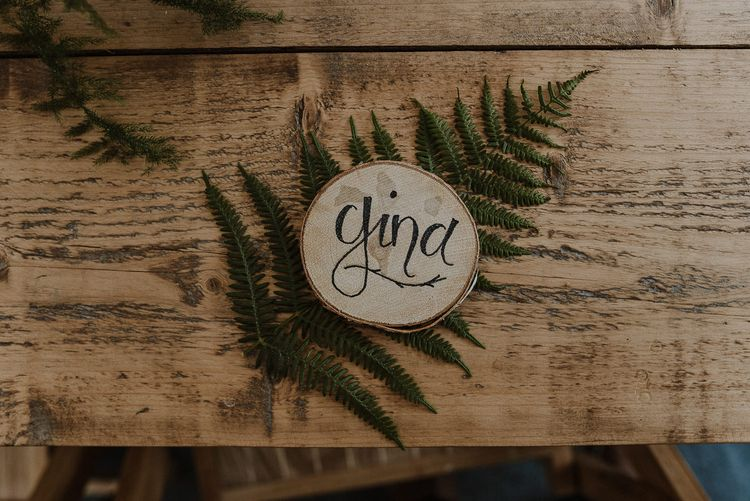 Fern Leaf and Personalised Wooden Tree Slice Name Place Setting