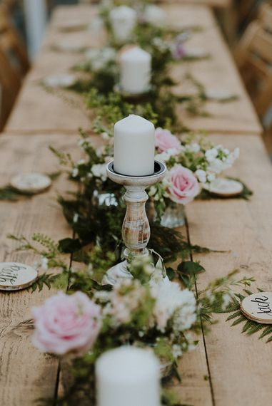 Table Runner of Candle Sticks and Floral Garland