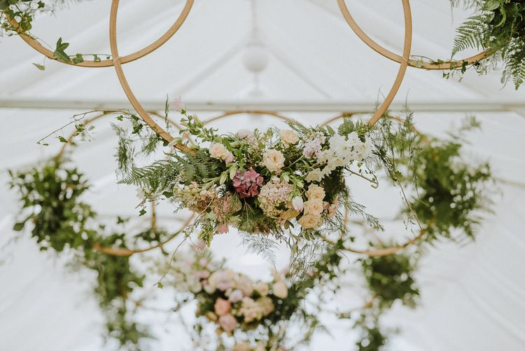 Hanging Flower Hoop Wedding Decor with Foliage and Flowers