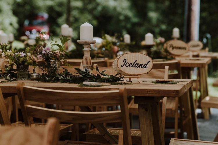 Engraved Wooden Tree Slice Table Name