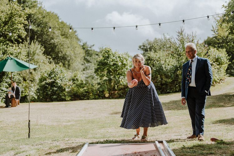 Wedding Guests Playing Bowls Garden Games